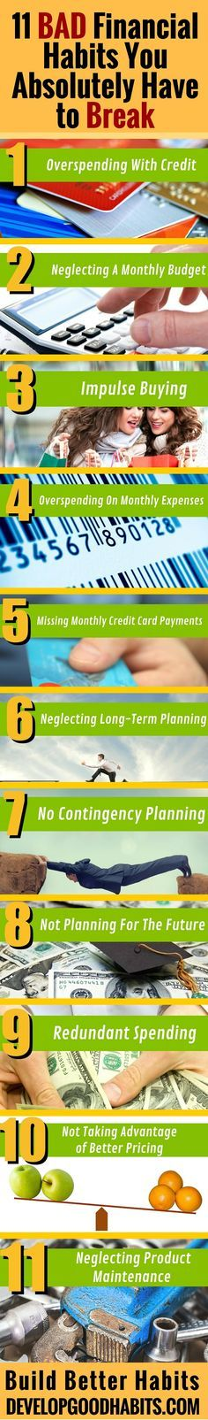 See the full article for more in depth ideas on how to break these bad fanancial habits and what GOOD money habits you can use to replace these bad fiscal habits.