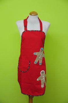 Delantal navidad rojo con galletas de jengibre hecho de patchwork