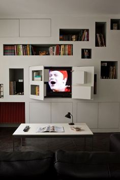 36 Tips and Tricks for Small Spaces - Page 6 of 6 - Ideas Hidden Tv, Tv Unit Design, Book Wall, Home Renovation, Corner Desk, Small Spaces, Family Room, Sweet Home, House Design