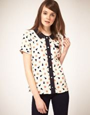 Blouse with Apple & Pear Print