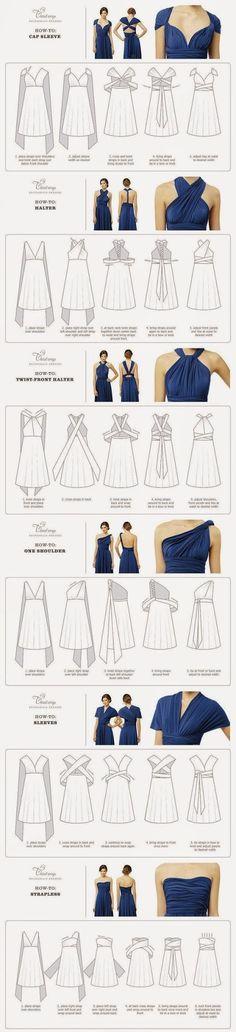 Twist Wrap Dress/Multi way dress- How-To-Wear Instructions. Diy Clothing, Sewing Clothes, Clothing Patterns, Dress Patterns, Dress Clothes, Dress Shoes, Shoes Heels, Diy Fashion, Ideias Fashion