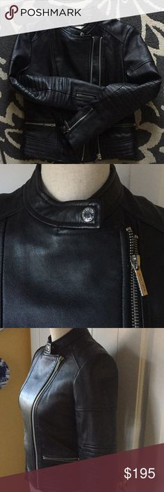 NWOT Michael Kors 100% Lambskin Leather Jacket Exquisite. This was a gift to me and never worn. It's gorgeous. Tailored Motorcycle style lamb leather jacket. 💝💝💝 Michael Kors Jackets & Coats