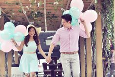 GMA newscaster Valerie Tan and Joe Chua had a lovely engagement session at Bonifacio High Street. The couple's shoot featured summery details and dramatic elements. | Photo by Nice Print Photography | www.BridalBook.ph