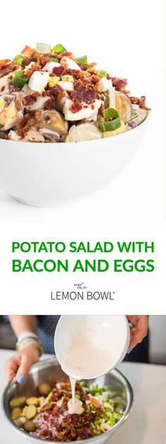 The perfect side dish any time of year, this Potato Salad with Bacon and Eggs is ready in just 30 minutes! #sidedish #bacon #easyrecipes