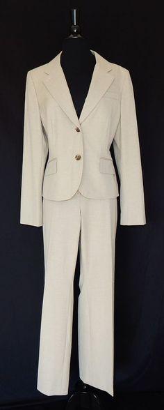 ANN TAYLOR LOFT Beige Business Career Jacket & Pants Suit Stretch Office Size 14 #AnnTaylorLOFT #PantSuit