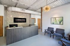 Reception Area With Exposed Ceiling For Chiropractic Office. CrossFields Chiropractic  Office Design