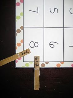 Math center games using clothes pins.fine motor and math activity in one. Math Classroom, Kindergarten Math, Teaching Math, Classroom Ideas, Teaching Ideas, Preschool, Math Stations, Math Centers, Math Resources
