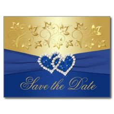 Royal Blue and Gold Floral Save the Date Card postcard
