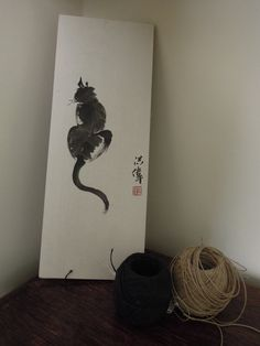 A chinese brush painting of a Cat by Rabbitsandteapots on Etsy, Chinese Brush, Ink, Cats, Unique Jewelry, Handmade Gifts, Painting, Vintage, Home Decor, Kid Craft Gifts