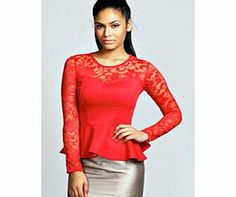 boohoo Alannah Lace Long Sleeve Peplum Top - poppy This laced up peplum top is a total head turner. Pair it with a metallic midi skirt , pin- perfecting pointed court heels and an easy-to-wear envelope clutch for maximum style points. http://www.comparestoreprices.co.uk/womens-clothes/boohoo-alannah-lace-long-sleeve-peplum-top--poppy.asp