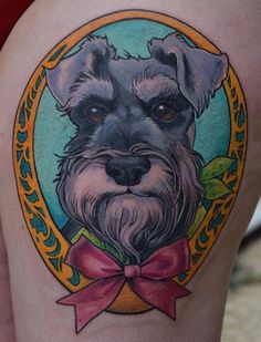 Schnauzer coloured tattoo