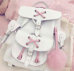by Carteras Ecocuero Cute Mini Backpacks, Stylish Backpacks, Girl Backpacks, Kawaii Accessories, Bag Accessories, Mochila Do Bts, Cute School Bags, Kawaii Bags, Girls Bags