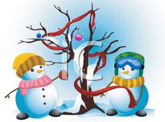 iCLIPART - Royalty Free Clipart Image of Two Snowmen Decorating a Tree