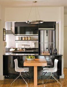 cozinha pequena/ cozinha americana preto/ balcão