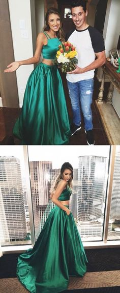 Gorgeous A-line Two Piece Hunter Green Long Prom Dress Formal Evening Dress