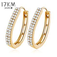 17 KM Zirkon Kristall Ohrstecker für Frauen Ohr Schmuck Brincos Luxus Gold Farbe Ohrring Mode Hochzeit Zubehör