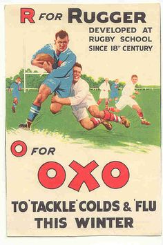 OXO postcard by Frederic Humbert (www.rugby-pioneers.com),1930s
