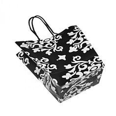 Gift Bag, Black And White Floral Design