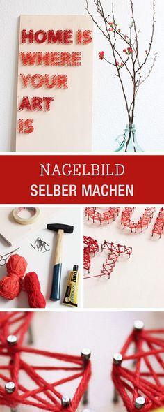 DIY für kreative Wohndeko: Nagelbild selbermachen / tutorial for a handmade nail picture, crafting with yarn via http://DaWanda.com