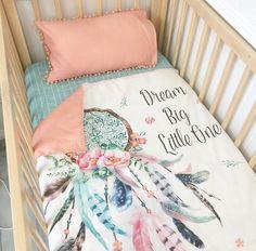 Image of Aqua/pink dream catcher with aqua dots cot quilt