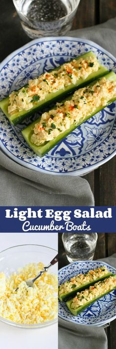 Light Egg Salad Cucumber Boats…Perfect for an afternoon snack or a light lunch! 98 calories and 2 Weight Watcher SmartPoints