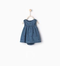 Image 1 of Embroidered denim dress from Zara