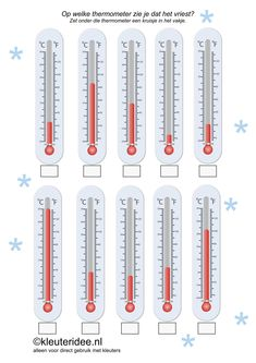 nl , thema Noordpool Zuidpool, In what thermometer you see that it freezes , free printable. Weather Activities Preschool, Teaching Weather, Weather Calendar, Polar Animals, Too Cool For School, Science For Kids, Winter Theme, Winter Sports, Free Printable