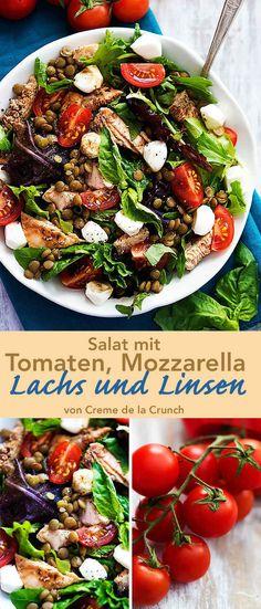 Salat mit Tomaten, Mozzarella, Lachs und Linsen