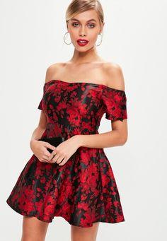 5e582f7d7c34f Missguided - Petite Red Jacquard Bardot Dress Petite Outfits, Petite Dresses,  Short Girls,