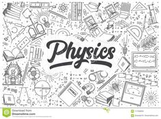 Illustration about Hand drawn physics doodle set. Illustration of calculation, count, atom - 117458832 Bullet Journal Cover Ideas, Bullet Journal Books, Wallpaper Notebook, Iphone Background Wallpaper, Project Cover Page, Wallpaper Powerpoint, Physics Projects, Hand Doodles, Umbrella Painting