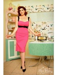 Jessica Dress in Hot Pink with Black Trim