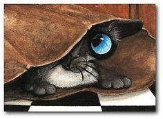 Siamese Cat Brown Paper Bag Peek Cat Humor FuN ArT LE Print ACEO