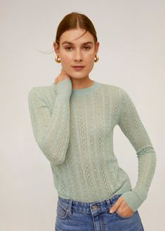 Open work-detail sweater - Woman | Mango South Africa Mango, Shopping Day, Wool Sweaters, Cardigans For Women, Cable Knit, Sweater Cardigan, Knitwear, Latest Trends, Turtle Neck