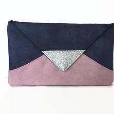sac pochette de soire mariage graphique bleu marine et rose en sudine glitter argent - Pochette Mariage Ecru