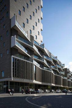 NL Architects Completes De Kameleon - De Kameleon Housing in Amsterdam, The Netherlands by NL Architects - Architecture Design, Facade Design, Residential Architecture, Amazing Architecture, Contemporary Architecture, Exterior Design, Building Exterior, Building Facade, Mix Use Building