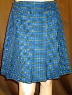 "Nova Scotia tartan Plaid Pleated Skirt~20"" Long Skirt in Blue Red Black…"