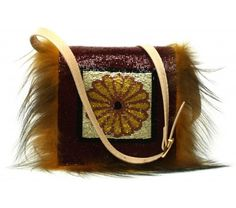 Fendi Pre-Fall 2012 Beige Snake Skin & Fur Dark Red Beaded Limited Edition Bag *Layaway Available*