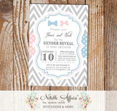 Bow tie or Bow Pink Blue Chevron Polka Dots Invitation