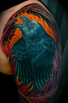 Top of surreal color sleeve tattoo: Dream of blue raven