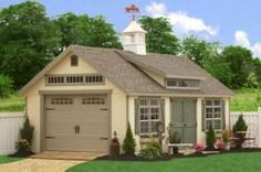 Wondrous Prefab Garages Inside Traditional Garage Along With Shed Near Brown Wooden Garage Door With Comfy Brown Floor Made From Wooden Veneer Garden Shed Kits, Outdoor Garden Sheds, Backyard Sheds, Backyard Cottage, Backyard Office, Backyard Studio, Backyard Patio, Storage Shed Kits, Garden Storage Shed