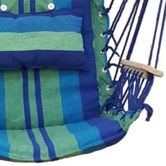 Blue Padded Hammock Chair With Wooden Arm Rests And Pillow | Hammocks,  Chairs And Blue