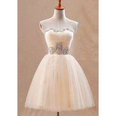Apricot Prom Dress (1.330 CZK) ❤ liked on Polyvore featuring dresses, prom dresses, sequin dress, pink cocktail dress, pink prom dresses and sweetheart dress