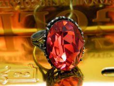 Fire Red Topaz Ring Swarovski Crystal Silver Plated Orange | LeelaBijou - Jewelry on ArtFire