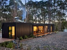 A Perfectly Proportioned Prefab Cabin Secluded in a Forest Clearing Secluded, prefabricated bliss. Musk Prefab Cabin by Modscape (via Lunchbox Architect) The Green Life Small Modular Homes, Modern Prefab Homes, Prefab Tiny Houses, Small Prefab Cabins, Prefabricated Houses, Container Home Designs, Cabin Design, House Design, Shipping Container Cabin