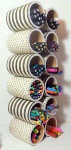 with Megan: Storage solutions! Marker Storage created with cans that are perfect for horizontal storage solutions.Marker Storage created with cans that are perfect for horizontal storage solutions. Craft Room Storage, Craft Organization, Organizing Ideas, Bedroom Organization, Office Storage, Craft Rooms, Marker Storage, Diy And Crafts, Arts And Crafts