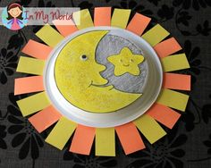 Moon, Star, Sun paper plate craft (FREE moon and star template)