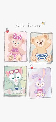 Disney Phone Wallpaper, Friends Wallpaper, Bear Wallpaper, Iphone Wallpaper, Cute Pastel Wallpaper, Cute Patterns Wallpaper, Duffy The Disney Bear, Disney Illustration, Friend Cartoon