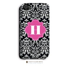Vintage Damask iPhone Case 3D by Stacy Claire Boyd ~ This iPhone case features a white on black vintage damask pattern with a pink art deco emblem that allows for either a monogram or an initial. Compatible with the iPhone 4 and 4S only, this protective case is made with the highest quality polymers.