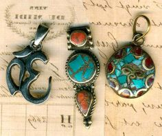 Tibet Turquoise Red Coral Inlay Pendants, Sterling Hindu Ohm Symbol. VINTAGE 3