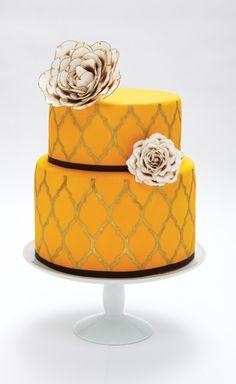 Marigold Wedding Cake with Ivory Flowers